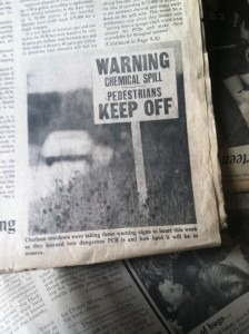 A photograph in an August 1978 issue of the Chatham County Herald indicates residents' concerns with the health effects of PCBs illegally dumped in the area.
