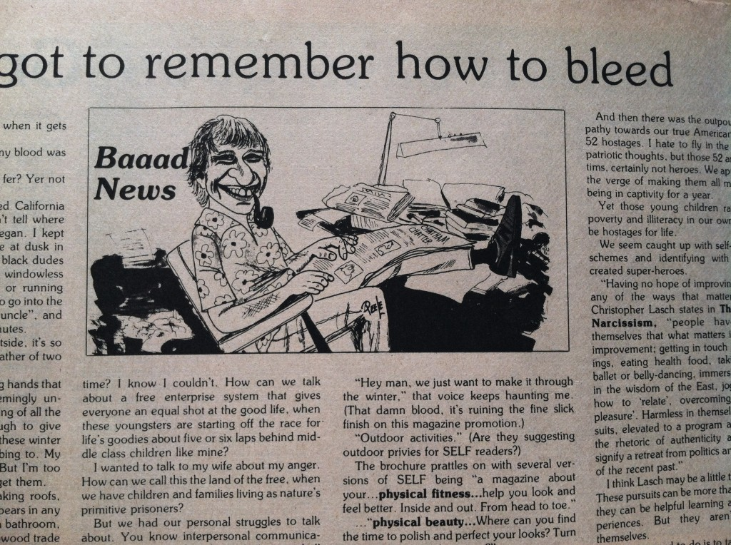 "Jeffrey Starkweather depicted in the header for his column, ""Baaad News."""